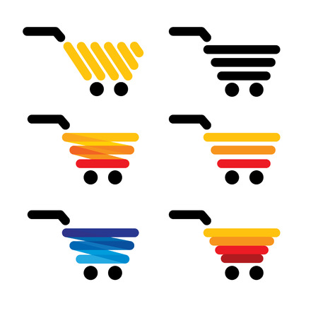 checkout line: vector icon simple abstract lines shopping carts collection set - concept graphics is many colors like blue orange yellow black Illustration