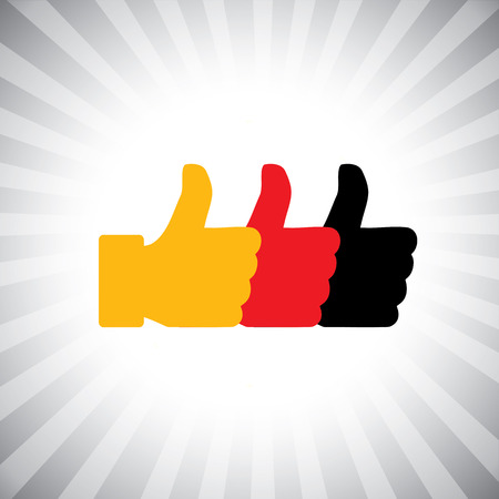 endorse: Concept vector graphic - social media like hand icons ( signs ) set. This also represents agreement, deal, endorse, concur, vote, thumbs up, like, okay, ok, good, etc