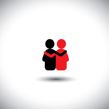 friends hug each other, deep relationship & bonding - vector icon. This also represents reunion, sharing, love, emotions, human touch, friendly embrace, support, care, kindness, empathy, compassion Vettoriali
