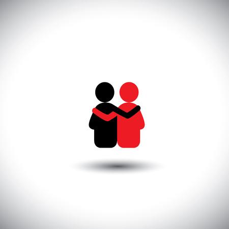 apoyo social: amigos se abrazan, profunda relación y unión - icono vectorial. Esto también representa la reunión, el compartir, el amor, las emociones, el tacto humano, abrazo amistoso, el apoyo, la atención, la amabilidad, la empatía, la compasión