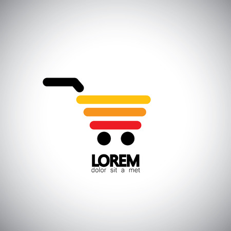 unique concept: vector icon simple unique shopping cart - concept line graphics in shades of yellow orange and red Illustration