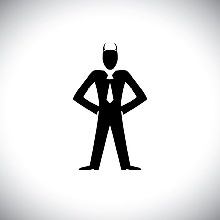 devilish: vector icon of bad or bully manager or boss - concept graphic. This also represents irrational leader, bad boss, bullying team leader