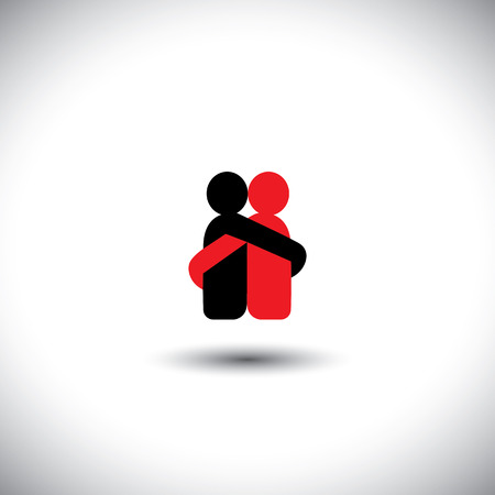 friend hug: lovers hug each other in deep love & romantic mood - vector icon. This also represents reunion, sharing, love, emotions, human touch, friendship, embrace, support, care, kindness, empathy, compassion