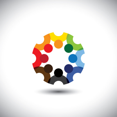 totality: Colorful design of a team of people or children icons. This vector logo template can represent group of kids together or employees in meeting, unity among people, etc. Illustration