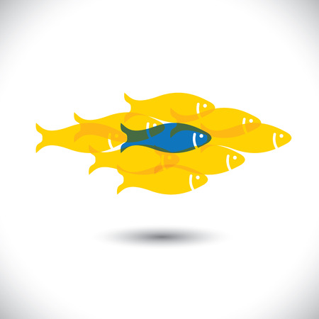 Being different, taking risky, bold move for success in life - Concept vector. The graphic of fishes also represents the concept of courage, boldness, enterprise, confidence, belief, fearless, daring