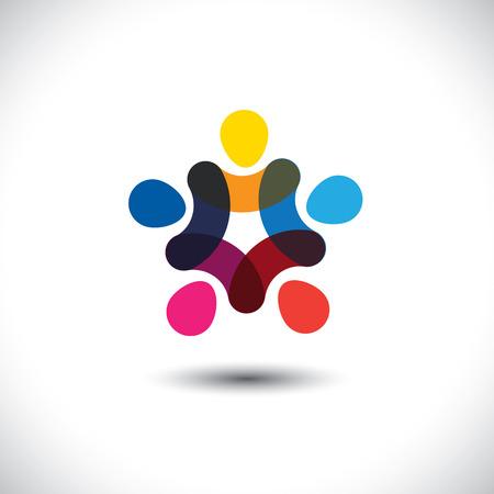 Concept de l'unité de la communauté, la solidarité et l'amitié - graphique vectoriel. Ce modèle de logo représente aussi les enfants colorés jouer ensemble main dans la main dans les cercles, un syndicat de travailleurs, réunion des employés Banque d'images - 37068758