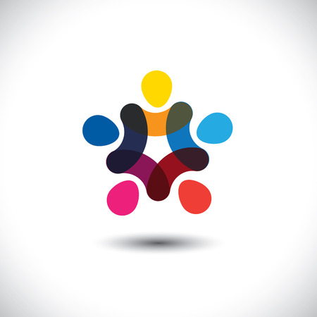 Concept of community unity, solidarity & friendship - vector graphic. This logo template also represents colorful kids playing together holding hands in circles, union of workers, employees meeting