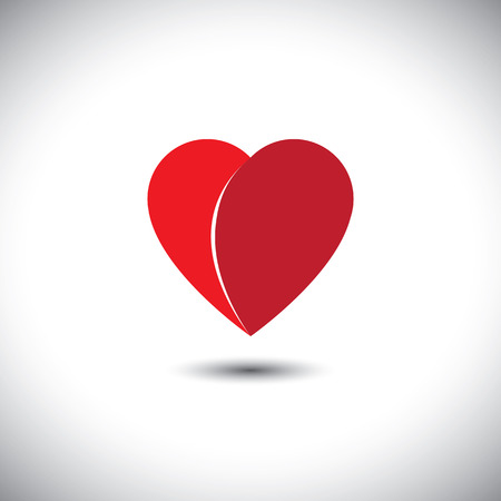 simplistic icon: simple red heart love icon with 2 parts - vector icon. This also represents heart break, disappointment, passion, romance, friendship, relationship, bonding, compassion, empathy Illustration