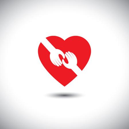 vecteur, icône de deux mains qui se touchent avec le coeur - concept de l'amour. Cela représente également des concepts comme le soutien, l'aide, l'empathie, la gentillesse, le partenariat, l'amitié, la coopération, l'engagement, la compassion, donner