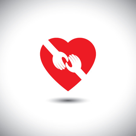 empathy: vector icon of two hands touching with heart - concept of love. This also represents concepts like support, help, empathy, kindness, partnership, friendship, cooperation, commitment, compassion, give