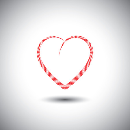 simple heart icon with lines representing love - vector icon. This also represents passion, romance, friendship, relationship, bonding, compassion, empathy