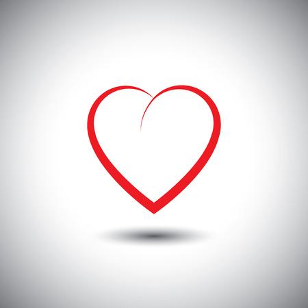 사랑의 감정을 나타내는 간단한 심장 아이콘 - 벡터 아이콘입니다. 이것은 또한 열정, 로맨스, 우정, 관계, 결합, 연민, 공감을 나타냅니다 일러스트