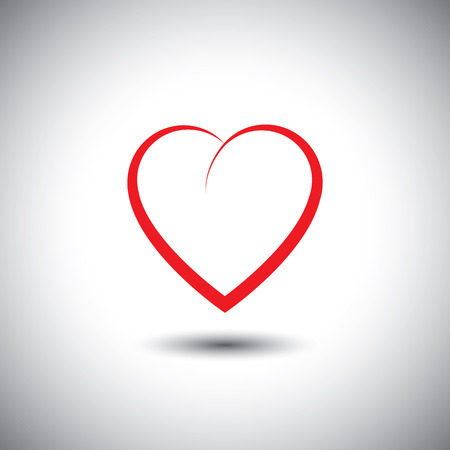 romantic heart: simple heart icon representing love emotion - vector icon. This also represents passion, romance, friendship, relationship, bonding, compassion, empathy