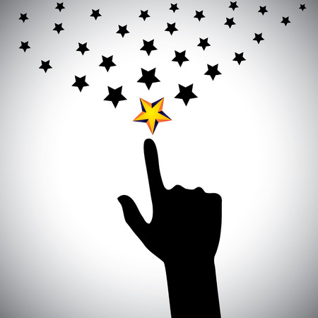 zeal: vector icon of hand reaching for stars - concept of ambition. This also represents concepts like aspiration, determination, will power, greed, hope, dreams, initiative, trying, spirit, select, choose