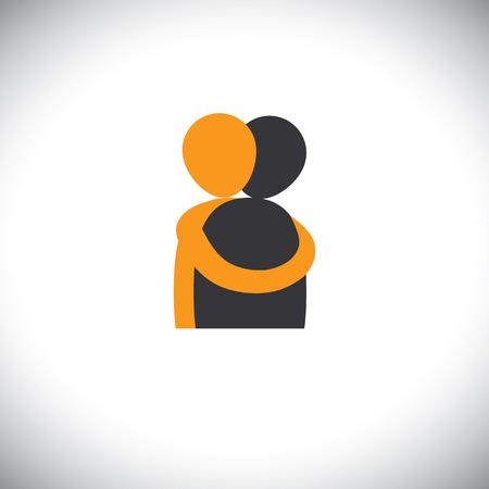 personas se abrazan, amigos abrazan - vector gráfico. Esto también representa la reunión, el compartir, el amor, las emociones profundas, toque humano, abrazo amistoso, apoyo, atención y amabilidad, empatía y compasión