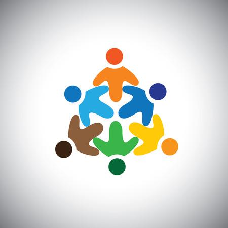 mensen kring: vector pictogram van gelukkig, opgewonden, vreugdevolle mensen cirkel. Dit vertegenwoordigt ook viering, gemeenschap, entertainment, fun, party, waanzin, discotheek, dans, opwinding Stock Illustratie