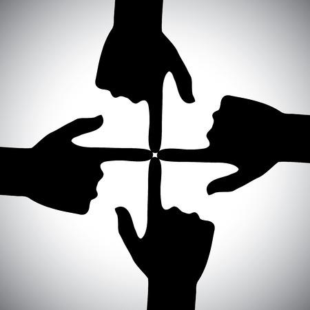 화합의 개념 - 서로를 가리키는 네 손의 벡터 아이콘입니다. 이것은 또한 커뮤니티, 소셜 네트워크, 지원, 연대, 협력, 우정, 협력, 회의 등의 개념을 나