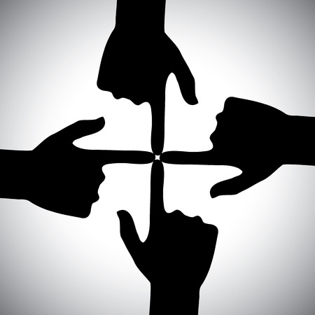 4 of a kind: vector icon of four hands pointing each other - concept of unity. This also represents concepts like community, social network, support, solidarity, partnership, friendship, cooperation, meeting Illustration