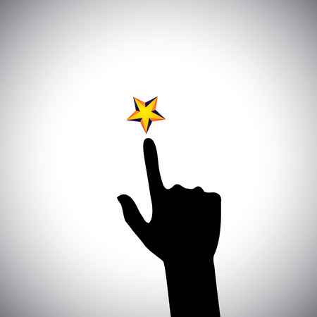zeal: vector icon of hand reaching for star - concept of ambition. This also represents concepts like aspiration, determination, will power, greed, hope, dreams, initiative, trying, spirit, zeal