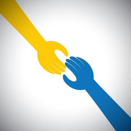 Icona vettore di due mani che toccano - concetto di ricevere, dare. Ciò rappresenta anche concetti come sostegno, aiuto, empatia, gentilezza, collaborazione, amicizia, collaborazione, impegno, compassione