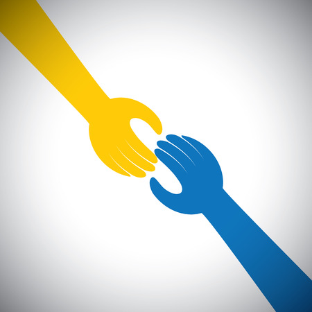 kindness: vector icon of two hands touching - concept of receiving, giving. This also represents concepts like support, help, empathy, kindness, partnership, friendship, cooperation, commitment, compassion Illustration