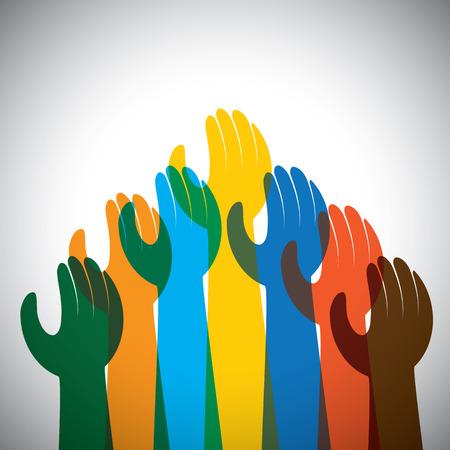 rallying: icono de vector de muchas manos en el aire - concepto de unidad, apoyo. Esto tambi�n representa la protesta, la rebeli�n, la demostraci�n, reuni�n, alcanzando