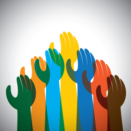 consolidation: vector icon of many hands in the air - concept of unity, support. This also represents protest, revolt, demonstration, rally, reaching