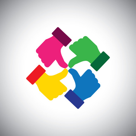 endorse: vector icon of colorful thumbs up hands - concept of group unity. This also represents concepts like teamwork, team spirit, together, friends & friendship, trust & faith, agreement, like, approve