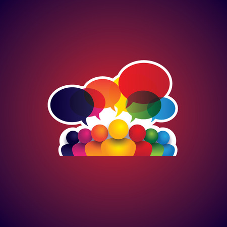 friendship: collection of people icons of leadership, friendship - vector concept. this also represents social media communication, internet or web chat, social networking & interaction, online community, forums