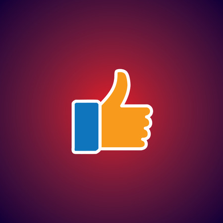 praise: flat design vector icon of approve symbol used in social media websites. this also represents concepts like endorse, accredit, vote, recommend, praise, appreciate, like
