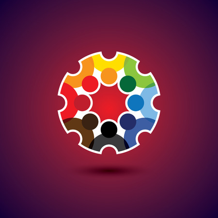 multi racial: Colorful design of a team of people or children icons.