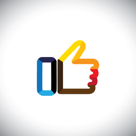 thumbs up icon: colorful hand thumbs up symbol - like vector icon.  Illustration