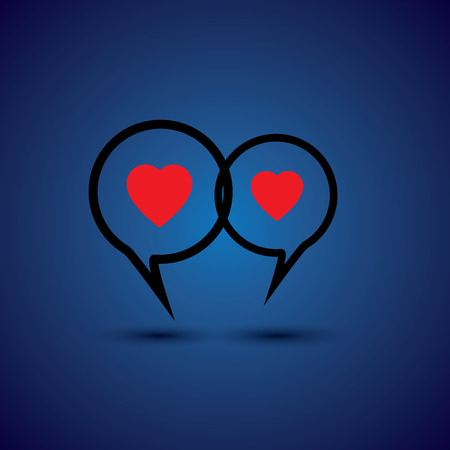 mutual help: intimate couple doing love talk - concept vector line icon. This chat or talk symbol with heart symbol also represents intimate relationship, deep communication, close interaction Illustration