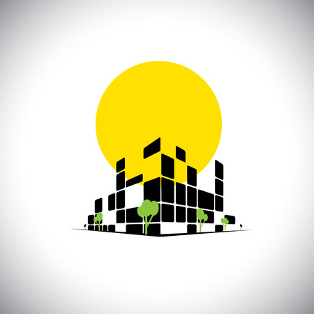 sleek: sleek city high rise skyscraper and sun in background - concept vector. This also represents city downtown, mall, super center, commercial market, office space, headquarters, hospital, apartments