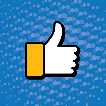 endorsing: pop art thumbs up & like hand symbol used in social media - vector icon. this also represents appreciation, endorsing, approval, confirmation, vote, recommend, gesture