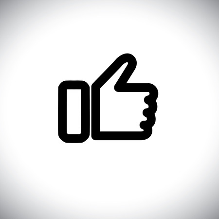 concept vector graphic - black line of like hand icon. This also represents agreement, deal, endorse, concur, vote, thumbs up, like, okay, ok, good, etc