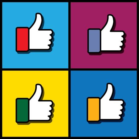 endorse: Concept vector graphic - social media like hand icons set. This collection also represents agreement, deal, endorse, vote, thumbs up, like, okay, ok, good, etc in yellow, blue, red, green colors Illustration