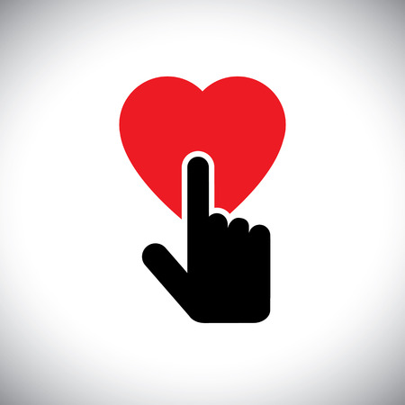 human touch: human heart icon with hand touch