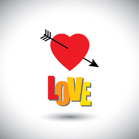 pierce: human heart icon and love words and arrow - simple vector graphic.