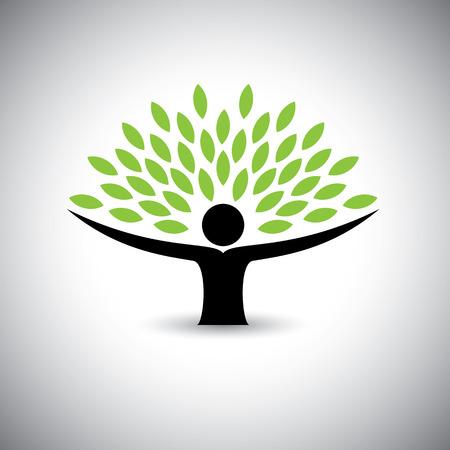 folha: as pessoas aderem a �rvore ou a natureza - eco lifestyle conceito vetor. Ilustração