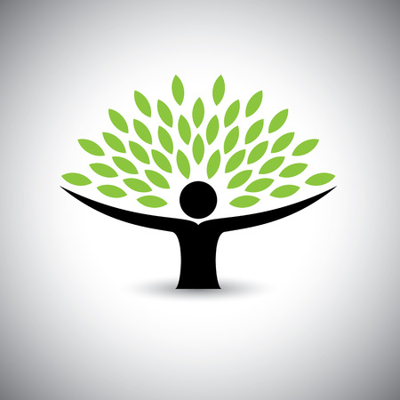 green life: people embracing tree or nature - eco lifestyle concept vector.