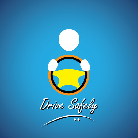 safe driving: car driver icon or symbol - safe driving concept vector. this shows a cabbie icon with his hand holding the steering wheel of a car, vehicle or automobile