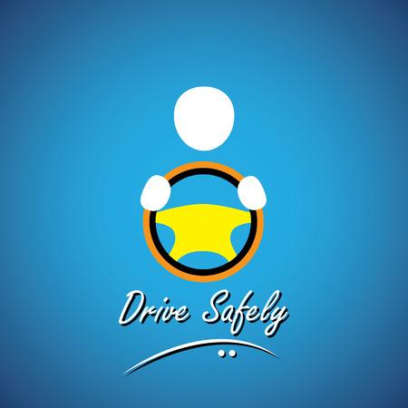 taxista: Icono del coche de conductor o símbolo - concepto de conducción segura vector. esto muestra un icono de taxista con su mano sosteniendo el volante de un coche, vehículo o automóvil Vectores
