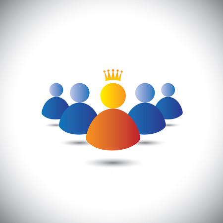 team leadership: leader with crown & leadership, team & teamwork concept vector icon.