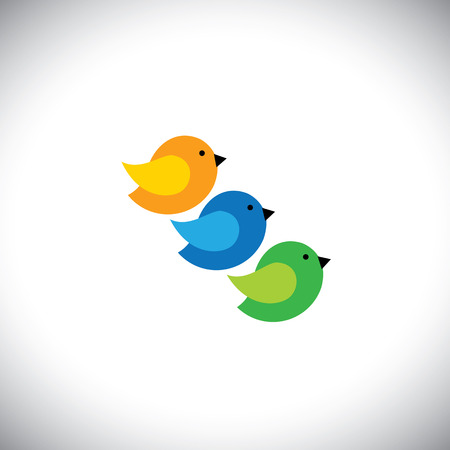 grren: three cute birds in orange, blue and grren colors - vector icons