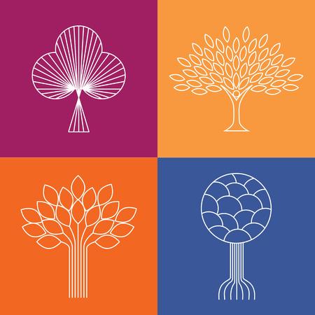 abstract organic tree line icons Illustration