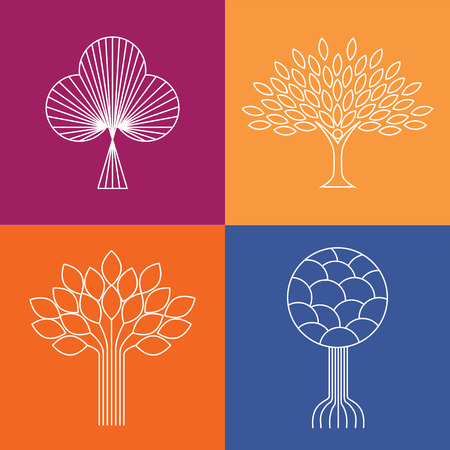 abstract organic tree line icons Vettoriali