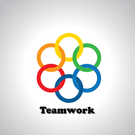 interlocked: vector icon colorful rings interlocked - teamwork concept. This also represents unity, united people, friendship, partnership, close relationships, bonding