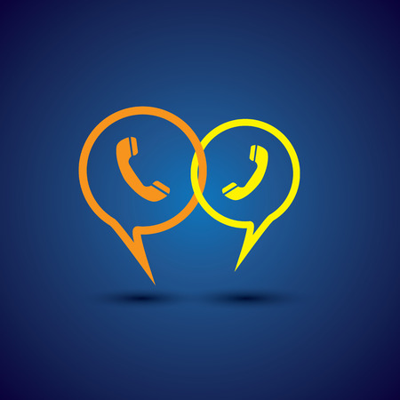 online phone support & phone chat - concept vector line icon. This chat or talk symbol with receiver symbol also represents  business communication, voice support, customer interaction