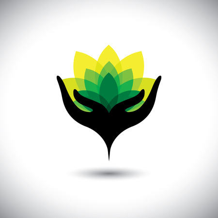 eco concept graphic of girls hand with fresh vibrant leaves - vector icons. This also represents beauty business, rejuvenation & healing spas, luxury resorts, alternative therapy, nature conservation Vettoriali